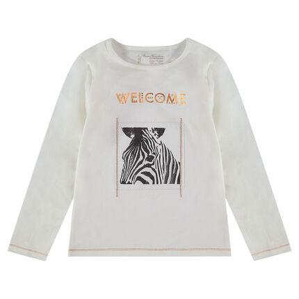 Μακρυμάνικη ζέρσεϊ μπλούζα με στάμπα ζέβρα και βολάν