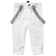 Λευκό επίσημο παντελόνι με ριγέ αφαιρούμενες τιράντες