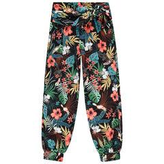 Χυτό παντελόνι με φλοράλ μοτίβο και ζώνη που δένει