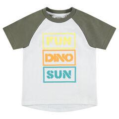 Κοντομάνικη μπλούζα με μανίκια ρεγκλάν και τυπωμένο μήνυμα