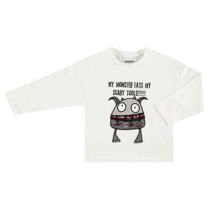 Μακρυμάνικη μπλούζα HALLOWEEN από ζέρσεϊ με τυπωμένο τερατάκι