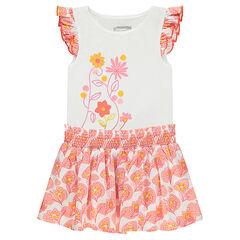 Φόρεμα με μοτίβο λουλούδια μπροστά και βολάν στα μανίκια