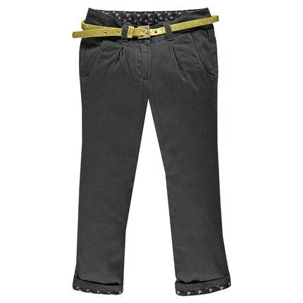 Pantalon en satin de coton esprit chino à ceinture amovible