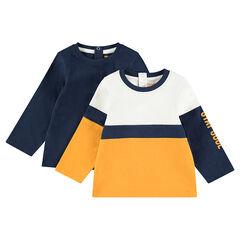 Σετ 2 μακρυμάνικες μπλούζες από ζέρσεϊ, μία μονόχρωμη / μία δίχρωμη με στάμπα