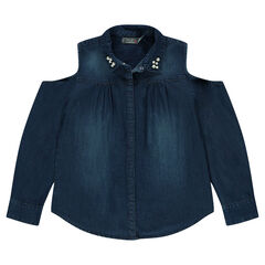 Παιδικά - Μακρυμάνικο πουκάμισο από σαμπρέ ύφασμα με άνοιγμα στους ώμους και πέρλες στο γιακά