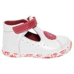 Λευκά δερμάτινα παπούτσια με μπαρέτα, βέλκρο και λουλούδι
