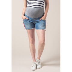 Τζιν σορτς εγκυμοσύνης με used όψη και λωρίδες στα πλάγια