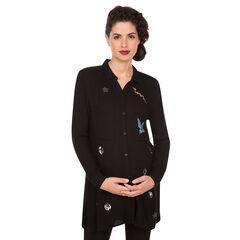Μακρυμάνικο πουκάμισο εγκυμοσύνης με μοτίβα κεντημένα με πούλιες