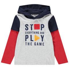 Κοντομάνικη μπλούζα 2 σε 1 με κουκούλα και τυπωμένο μήνυμα