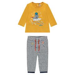 Σύνολο με μακρυμάνικη μπλούζα με κεντημένο θαλάσσιο ίππο και παντελόνι από φανέλα μελανζέ