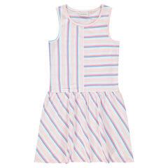 Παιδικά - Αμάνικο φόρεμα με ρίγες σε αντίθεση