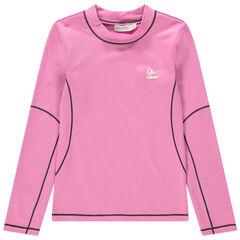 Ροζ μπλούζα του σκι με όρθιο λαιμό