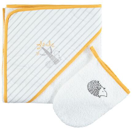 Σετ μπάνιου με μπουρνούζι με κουκούλα ριγέ και γάντι με κεντημένο σκαντζόχοιρο