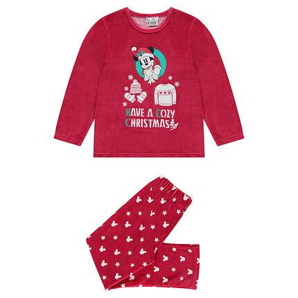 Χριστουγεννιάτικη βελουτέ πιτζάμα με στάμπα τον Mickey