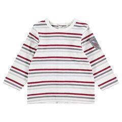 Μακρυμάνικη μπλούζα με ρίγες και απλικέ σήμα