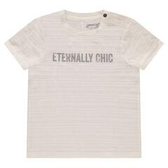 Κοντομάνικη ριγέ μπλούζα με τυπωμένο μήνυμα μπροστά