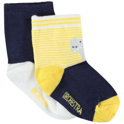Σετ με 2 ζευγάρια κάλτσες με δεινόσαυρους σε ζακάρ