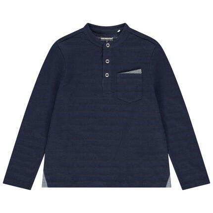 Μακρυμάνικη μπλούζα με γιακά μάο, τσέπη στο στήθος και ζακάρ ρίγες