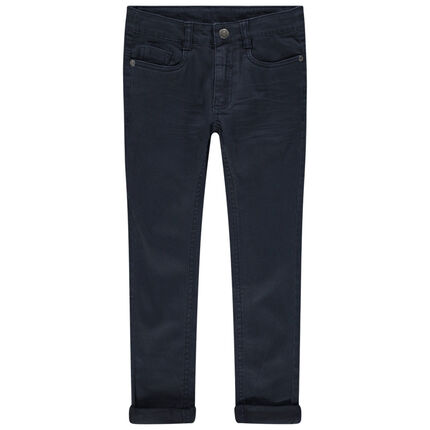 Μονόχρωμο παντελόνι με used όψη και μόνιμες τσακίσεις