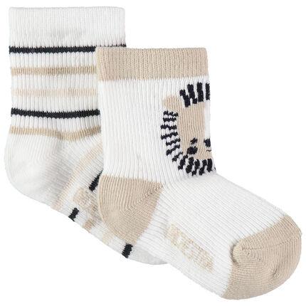 Σετ 2 ζευγάρια κάλτσες με ζακάρ μοτίβο / ρίγες