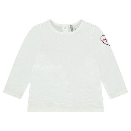 Μακρυμάνικη μπλούζα μονόχρωμη με κεντήματα