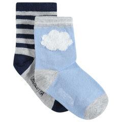 Σετ 2 ζευγάρια ασορτί κάλτσες με μοτίβο σύννεφο και ρίγες