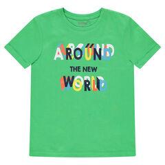 Παιδικά - Κοντομάνικη ζέρσεϊ μπλούζα με τυπωμένο μοτίβο