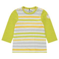 Μακρυμάνικη μπλούζα από ζέρσεϊ ριγέ με μπάλωμα λιοντάρι