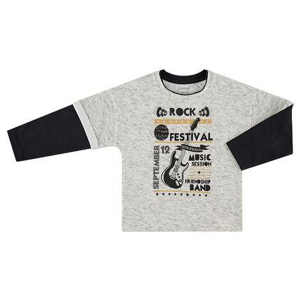 Μακρυμάνικη μπλούζα 2 σε 1 με τυπωμένα κείμενα και κιθάρα