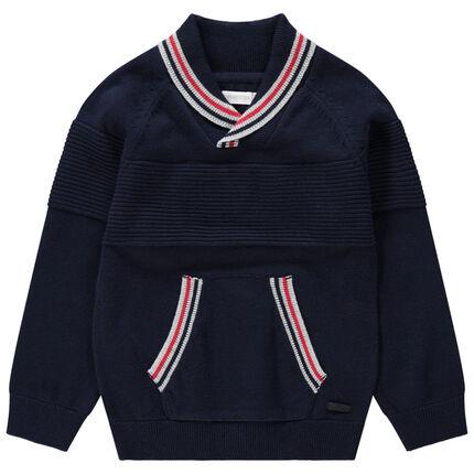 Πλεκτό πουλόβερ με μονοκόμματο γιακά και τσέπη καγκουρό