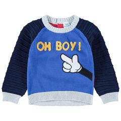 Πλεκτό πουλόβερ με κεντημένες λεπτομέρειες Μίκυ της Disney