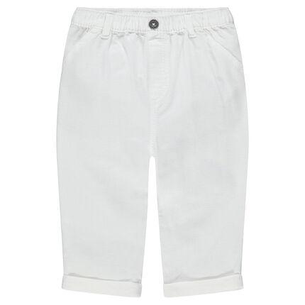 Λευκό βαμβακερό παντελόνι με τσέπες