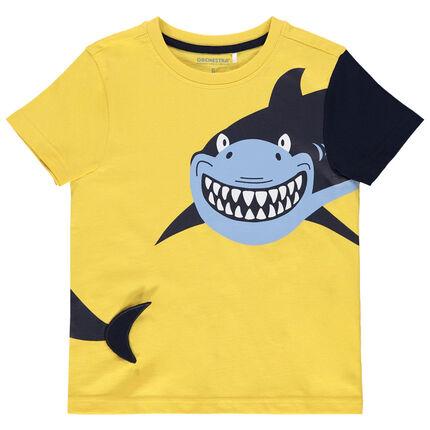 Κοντομάνικη μπλούζα κίτρινη με στάμπα καρχαρία