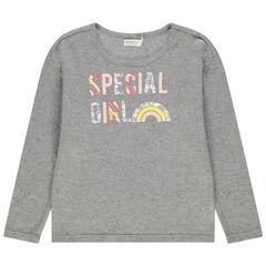 Μακρυμάνικη μπλούζα με πλεκτή ύφανση και διακοσμητικά μοτίβα
