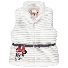 Αμάνικη ζακέτα από συνθετική γούνα με κέντημα Minnie και ζώνη με παγιέτες