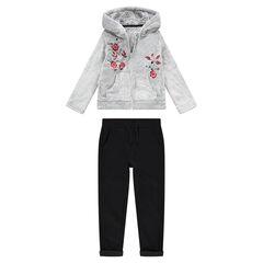 Φόρμα από δύο υλικά με ζακέτα από sherpa και φανελένιο παντελόνι