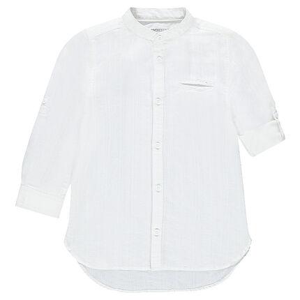 Βαμβακερό πουκάμισο με μανίκια που γυρίζουν
