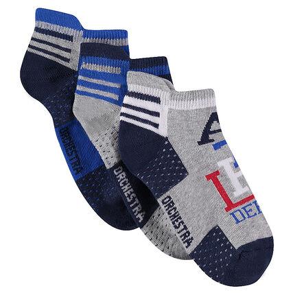 Σετ 3 ζευγάρια κοντές αθλητικές κάλτσες με ζακάρ μοτίβα