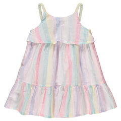 Φόρεμα με λεπτές τιράντες, χρωματιστές ρίγες και βολάν