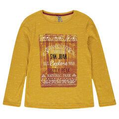 Μακρυμάνικη μπλούζα σε ύφανση ριμπ με διακοσμητική στάμπα μπροστά