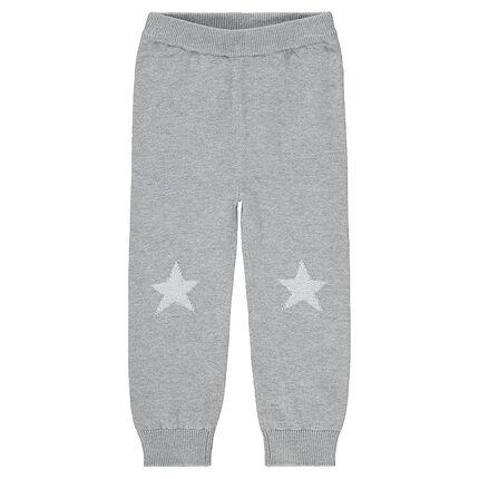 Πλεκτό παντελόνι με μοτίβο ζακάρ στα γόνατα