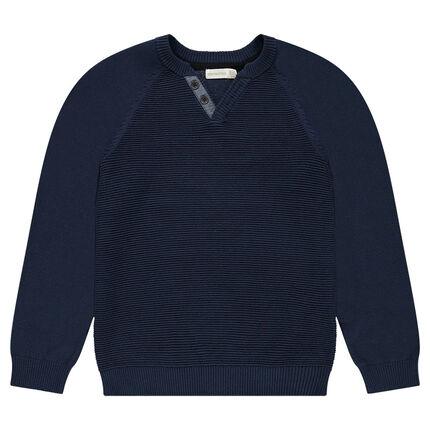 Παιδικά - Πλεκτό πουλόβερ σε ριγωτή πλέξη με κουμπιά στη λαιμόκοψη