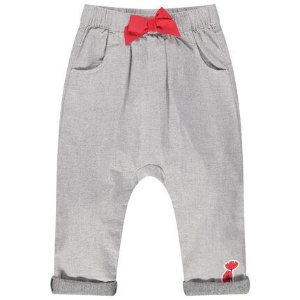 Μελανζέ παντελόνι με λάστιχο στη μέση και φιόγκο