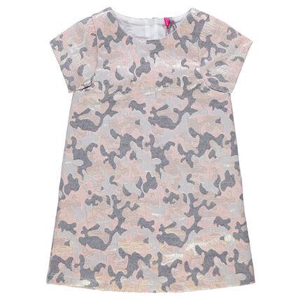 Κοντομάνικο φόρεμα με μεταλλιζέ ζακάρ μοτίβο παραλλαγής