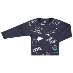 Μακρυμάνικη ζέρσεϊ μπλούζα με στάμπα Smiley και μηνύματα