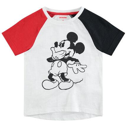 Τρίχρωμη κοντομάνικη μπλούζα με στάμπα Μίκυ της ©Disney