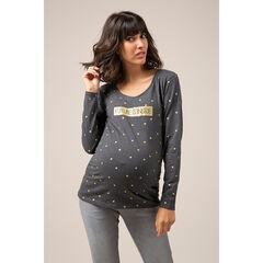 Μακρυμάνικη μπλούζα εγκυμοσύνης από ζέρσεϊ με τυπωμένο μήνυμα