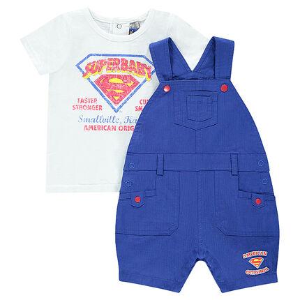 Σύνολο με κοντομάνικη μπλούζα και κοντή σαλοπέτα SUPERBABY
