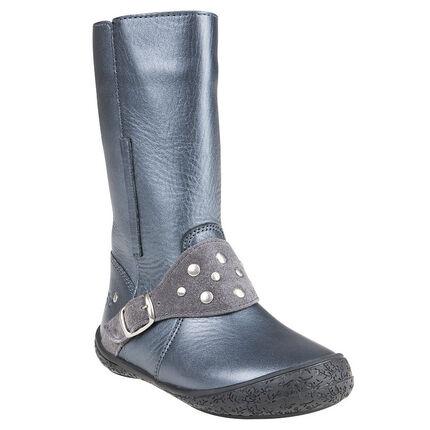 Δερμάτινες ασημί μπότες με αγκράφες και πριτσίνια