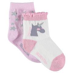 Σετ με 2 ζευγάρια ασορτί κάλτσες με μοτίβο αστεράκια και μονόκερο